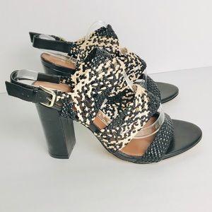 Reiss Woven Raffia Chunky Heel Strap Sandals